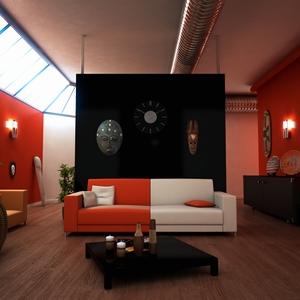 アフリカの民芸品や動物をモチーフとした部屋